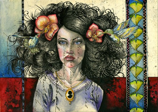 She Had Hummingbirds in Her Hair Art Print