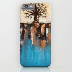 Abstract Tree - Teal and Brown Landscape Painting iPhone 6 Slim Case