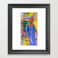 Girl In Blue Dress Framed Art Print
