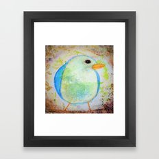 Sweet Little Bluebird Whimsical Rustic Chic Cottage decor Baby Bird  Framed Art Print