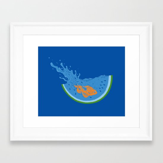 Watermelon Dive Framed Art Print