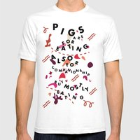 Pig Ate My Pizza Mens Fitted Tee White SMALL