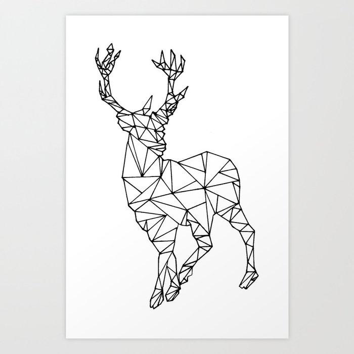 Geometric Purple Deer Wall Art Print Modern Poster Buck: Geometric Deer Art Print By Nlimme