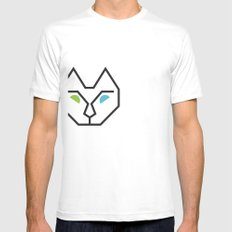 Abstract Multicolored Cat White Mens Fitted Tee SMALL