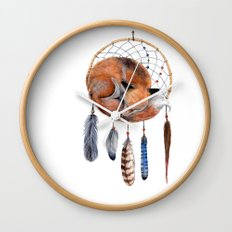 Fox Dreamcatcher Wall Clock
