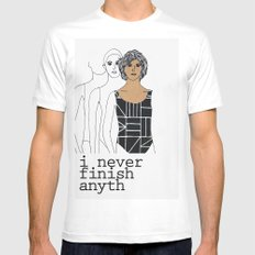 I never finish anyth Mens Fitted Tee SMALL White