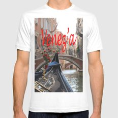 Italy Venice Gondola Mens Fitted Tee White SMALL