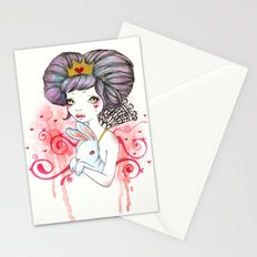 Princess with bunny Stationery Cards
