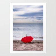 Red Umbrella At The Beac… Art Print