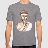 Buddha Shh.. Do Not Dist… Mens Fitted Tee Tri-Grey SMALL