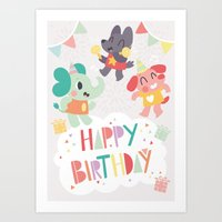 Happy Birthday Party Ani… Art Print
