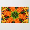 Orange Flower Garden Kaleidoscope Rug