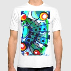 Abstract Explotion White Mens Fitted Tee SMALL