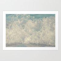 Saltwash III Splash of Lace and Pearls and Diamonds and Aquamarine Art Print