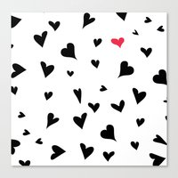 Black Hearts With One Pi… Canvas Print