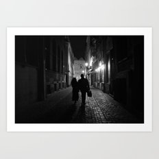 Brussels, a night walk in the heart of Europe Art Print