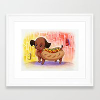 Hot Dog In The City Illu… Framed Art Print