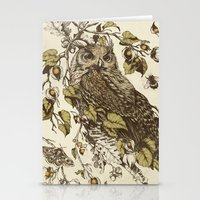 owl Stationery Cards featuring Great Horned Owl by Teagan White