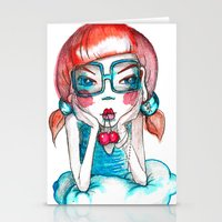 girl with cherry Stationery Cards