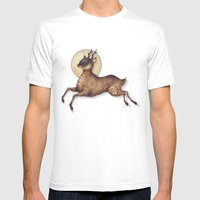 Deer in Leap Mens Fitted Tee White SMALL