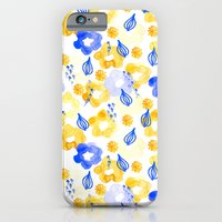iPhone & iPod Case featuring Yellow and Blue Flowers by Jen Moules
