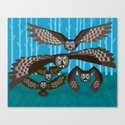 Five Owls In Flight Canvas Print