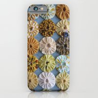iPhone & iPod Case featuring Quilted Yoyos in Yellow pattern by robayre by robyn wells