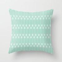 White Arrows On Mint Throw Pillow