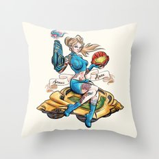 Pinup Samus Tattoo Bomber Girl Throw Pillow