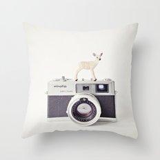 The Deer and The Minolta Throw Pillow