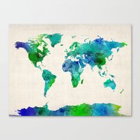 Watercolor Map Of The Wo… Canvas Print