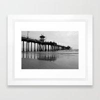 Pier in Black & White Framed Art Print