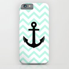 Pastel Mint Tiffany Turquoise, Chevron Anchor iPhone 6s Slim Case