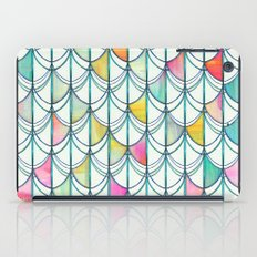 Pencil & Paint Fish Scale Cutout Pattern - white, teal, yellow & pink iPad Case