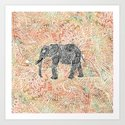 Tribal Paisley Elephant Colorful Henna Floral Pattern Art Print