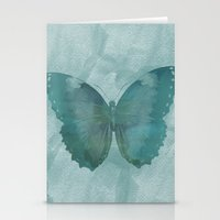 Teal Watercolor Butterfl… Stationery Cards