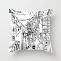 Osaka - Downtown Street Throw Pillow