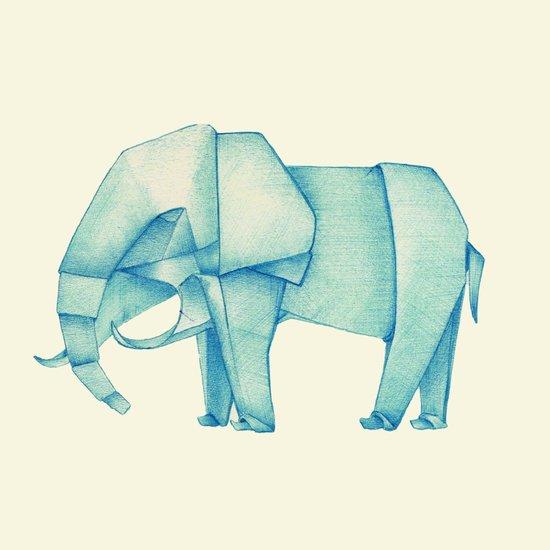 Paper Elephant Art Print