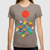 Great Bird Migration Womens Fitted Tee Tri-Coffee LARGE