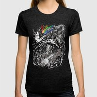 Dark Side of the Rainbow Womens Fitted Tee Tri-Black SMALL