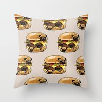 Pugs Burger Throw Pillow