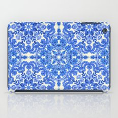 Cobalt Blue & China White Folk Art Pattern iPad Case