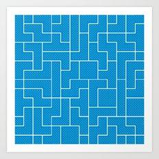 White Tetris Pattern on Blue Art Print