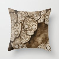 skull fresco Throw Pillow