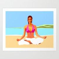 Yoga on the Beach Art Print