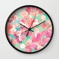 Romantic Pink Retro Floral Pattern Teal Polka Dots  Wall Clock