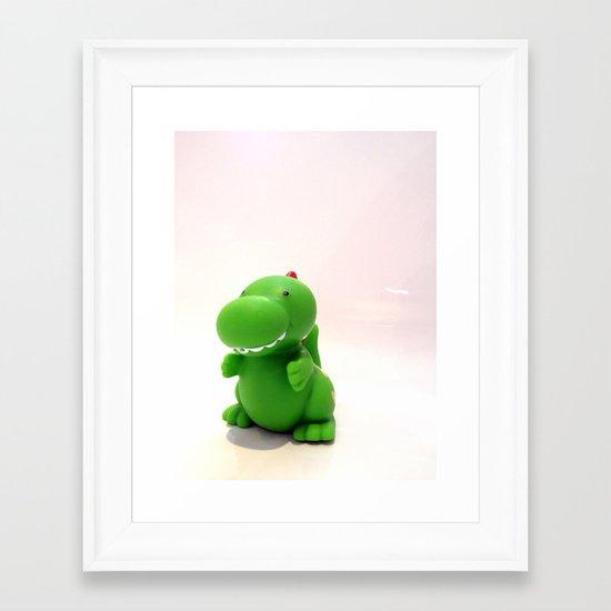 Happy Green Dinosaur Framed Art Print