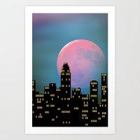 Super Moon Over The City Art Print