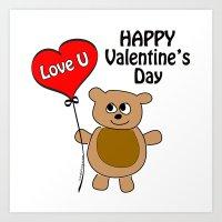 Love U Valentine's Day Art Print