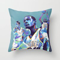 Kevin Durant NBA Illustration serie 1 of 3 Throw Pillow